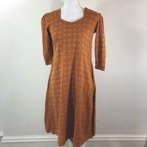 Vtg70s midi Bohemian geometric orange boho Dress